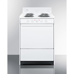 "SummitWhite 220v Electric Range In Slim 24"" Width With Storage Compartment"