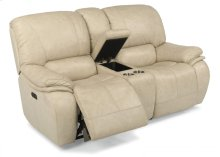 Tobin Leather Power Reclining Loveseat with Console and Power Headrests