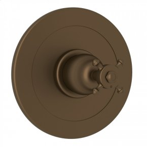 English Bronze Perrin & Rowe Georgian Era Integrated Volume Control Pressure Balance Trim Without Diverter with Georgian Era Cross Handle