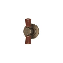Tube Stitch Out Combination Leather In Chestnut And Fine Antique Brass