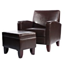Brown Faux Leather Classic Lounge Chair & Storage Ottoman