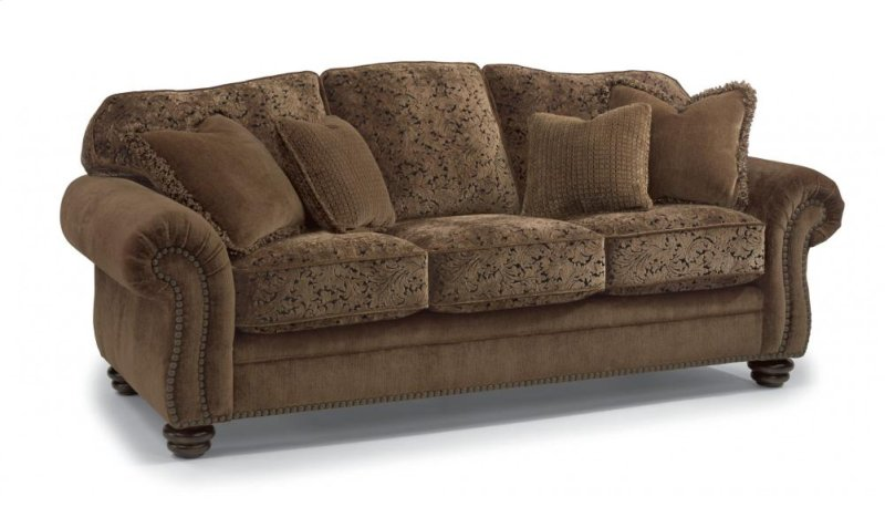 864931 In By Flexsteel In Benton Ky Bexley Two Tone Fabric Sofa With Nailhead Trim