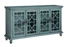 Mendenhall 4 Geometric Glass Door Textured Teal Sideboard