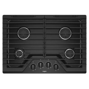 30-inch Gas Cooktop with EZ-2-Lift Hinged Cast-Iron Grates - BLACK