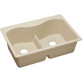 "Elkay Quartz Classic 33"" x 22"" x 9-1/2"", Equal Double Bowl Top Mount Sink with Aqua Divide, Sand"