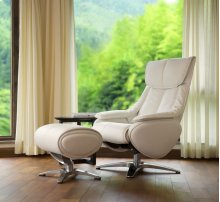 White Top Grain Leather with Chrome Finish -360 Degree Automatic Return Swivel -Pneumatic Adjustable Recline -Articulating/Height Adjustable Headrest -Contouring Adjustable Ottoman -Top Grain Leather