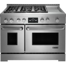 "Jenn-Air® 48"" Pro-Style® LP Range with Griddle and MultiMode® Convection System, Pro-Style® Stainless Handle"