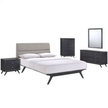 Addison 5 Piece Queen Upholstered Fabric Wood Bedroom Set in Black Gray