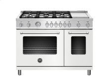 48 inch 6-Burner + Griddle, Gas Double Oven Matt White