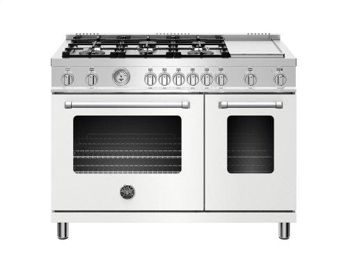 48 inch 6-Burner + Griddle, Gas Double Oven Matt White