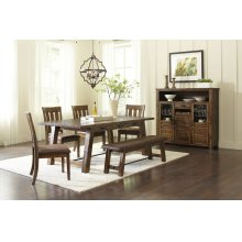 Cannon Valley Trestle Table With 6 Upholstered Chairs