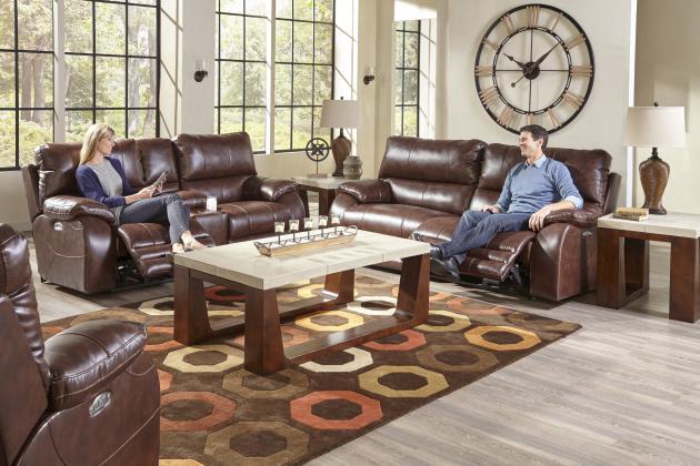 Hidden · Additional Power Headrest Power Lay Flat Reclining Sofa