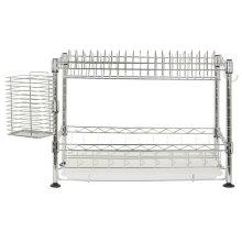 Darina Adjustable Chrome Wire Dish Rack - Chrome