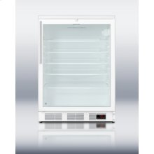 Commercially Approved Freestanding Beverage Refrigerator for Red Wine and Ale Storage, With Digital Thermostat, Glass Door, White Cabinet, Lock, and Thin Handle