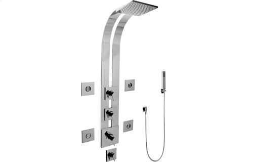 Square Thermostatic Ski Shower Set w/Body Sprays & Handshowers (Trim & Rough)