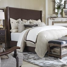 King/Western Brown Compass Upholstered Shelter Bed
