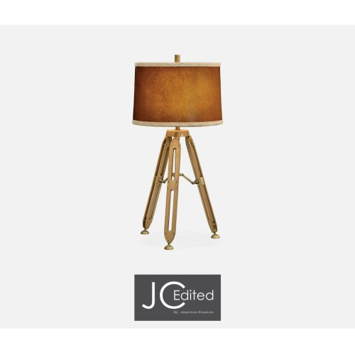 """32"""" Oak Architectural Table Lamp with Brass Stretcher"""