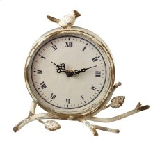 Distressed Ivory Desk Clock with Bird.