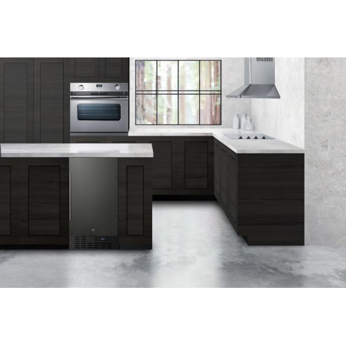 "18"" Wide Built-in Undercounter All-refrigerator With A Black Stainless Steel Door, Black Cabinet, Digital Thermostat and Front Lock"