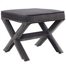 Rivet Upholstered Velvet Ottoman in Gray