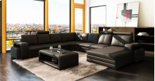 Divani Casa 3130 Modern Black Bonded Leather Sectional Sofa w/ Coffee Table