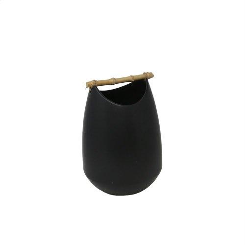 "Matte Black Vase W/ Bamboo Handle 11.75"""