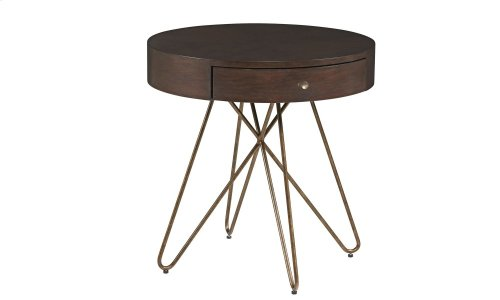 Epicenters Williamsburg Round End Table Walnut Finish