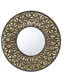 SLANO ROUND PU FRAME MIRROR WITH BEVELED GLASS