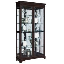 Etched Two Door 5 Shelf Curio Cabinet in Sable Brown