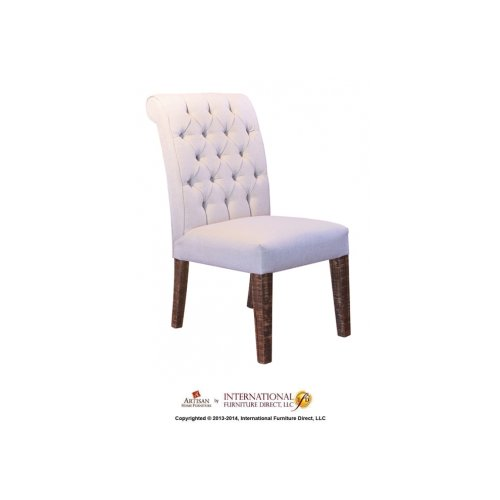 Upholstered Chair with tufted back & solid wood legs - 100% Polyester with a linen look