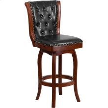 30'' High Cherry Wood Barstool with Button Tufted Back and Black Leather Swivel Seat