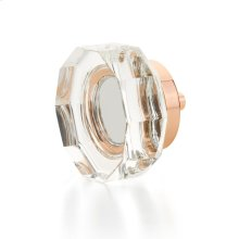 "City Lights, Large Multi-Sided Glass Knob, Polished Rose Gold, 1-3/4"" dia"