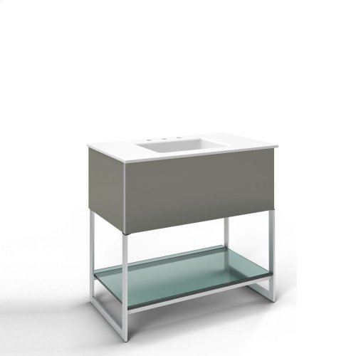 """Adorn 36-1/4"""" X 34-3/4"""" X 21"""" Vanity In Tinted Gray Mirror With Slow-close Plumbing Drawer, Legs In Brushed Aluminum and 37"""" Stone Vanity Top In Quartz White With Integrated Center Mount Sink and 8"""" Widespread Faucet Holes"""