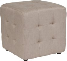 Avendale Tufted Upholstered Ottoman Pouf in Beige Fabric