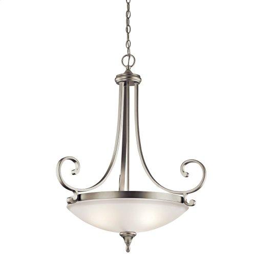 Monroe 3 Light Pendant with LED Bulbs Brushed Nickel
