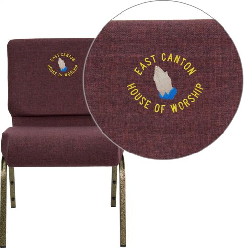 Embroidered HERCULES Series 21''W Stacking Church Chair in Plum Fabric - Gold Vein Frame
