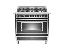 36 6-Burner, Gas Oven Matt Black