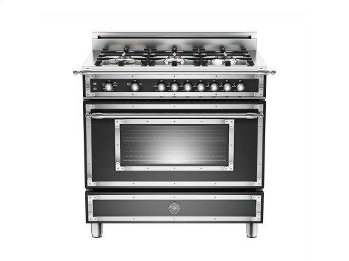 36 inch 6-Burner, Gas Oven Matt Black