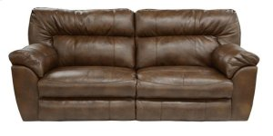 Extra Wide Recl Cnsl Lvst w/Stg and Cphldr - Chestnut