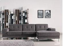 Divani Casa Forli Modern Grey Fabric Sectional Sofa w/ Right Facing Chaise