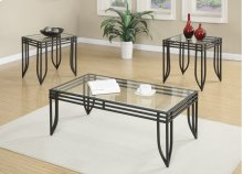 Emerald Home Endeavor 3pc Set Cocktail & 2 End Tables-glass Top-metal Base Black T1401-3pk