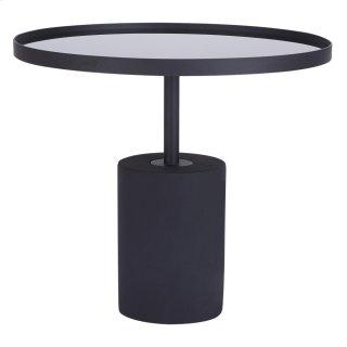 Samara KD End Table Glass Top with Black Concrete Base, Mirror Black *NEW*