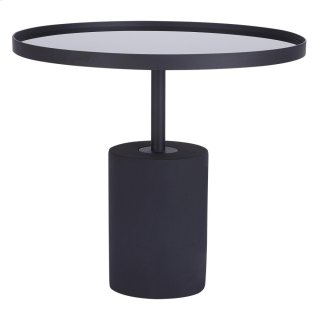 Samara KD End Table Glass Top with Black Concrete Base, Mirror Black *NEW*