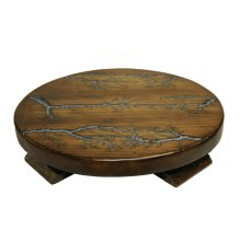 "20"" Round Lazy Susan W/Turquoise Inlay on Top"