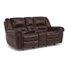 Crosstown Leather Power Reclining Loveseat with Console