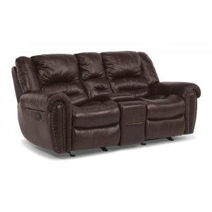 FLEXSTEELHOMECrosstown Leather Power Reclining Loveseat with Console