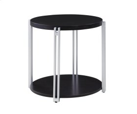 Round End Table W/bottom Shelf-silver Metal Legs-merlot Finish