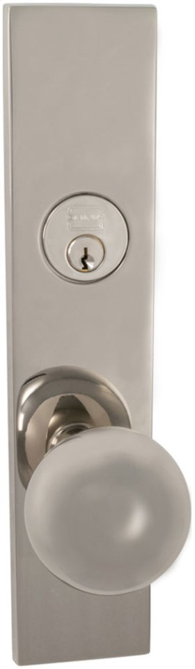Exterior Modern Mortise Entrance Knob Lockset with Plates in (US14 Polished Nickel Plated, Lacquered)