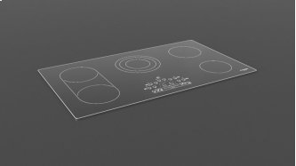 """36"""" Radiant Cooktop With Brushed Aluminum Trim - Black Glass"""