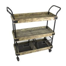 3-tier Wood/metal Bar Cart W/2 Baskets